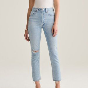 NWT Agolde Riley High Rise Straight Crop Shatter